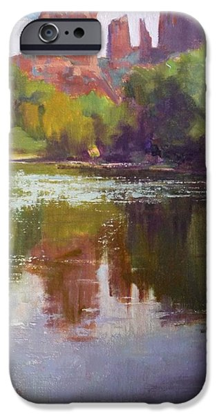 Best Sellers -  - Oak Creek iPhone Cases - Cathedral Rock Reflection iPhone Case by Sharon Weaver