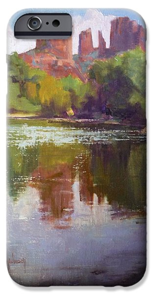 Cathedral Rock iPhone Cases - Cathedral Rock Reflection iPhone Case by Sharon Weaver