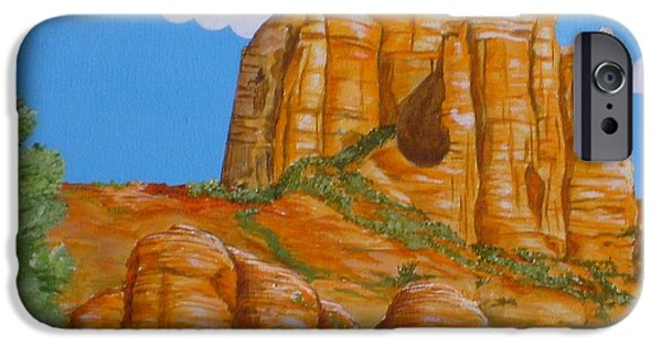 Cathedral Rock iPhone Cases - Cathedral Rock Sedona AZ Left iPhone Case by Carol Sabo