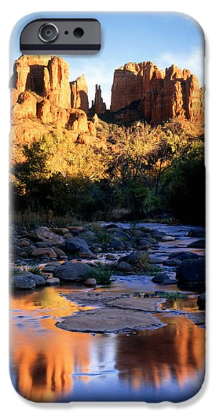 Sedona iPhone Cases - Cathedral Rock Sedona Az Usa iPhone Case by Panoramic Images