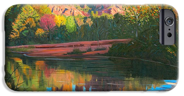 Sedona Paintings iPhone Cases - Cathedral Rock - Sedona iPhone Case by Steve Simon