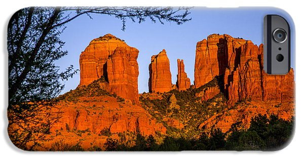Cathedral Rock Pyrography iPhone Cases - Cathedral Rock Sunset in Sedona iPhone Case by Mark Greenawalt