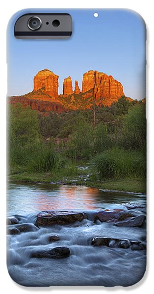 Oak Creek iPhone Cases - Cathedral Rock Sunset Moonrise iPhone Case by Brian Knott - Forget Me Knott Photography