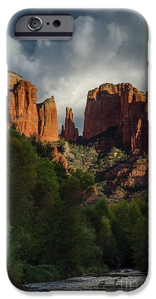 Oak Creek iPhone Cases - Cathedral Rock Sunset iPhone Case by Tamara Becker