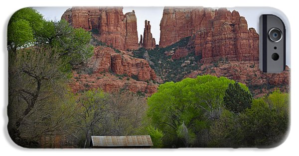 Oak Creek iPhone Cases - Cathedral Rock V iPhone Case by David Gordon