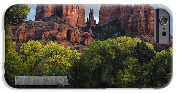 Oak Creek Canyon iPhone Cases - Cathedral Rock with Fall Colors and Rustic Building iPhone Case by Dave Dilli