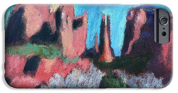 Cathedral Rock iPhone Cases - Cathedral Rock With Gray Trees iPhone Case by Linda Novick