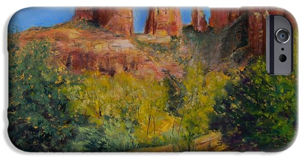 Cathedral Rock Pastels iPhone Cases - Cathedral Rocks iPhone Case by Sharon Frey