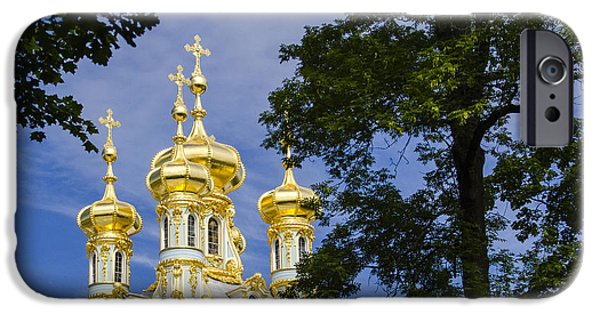 St John The Russian iPhone Cases - Catherine Palace  Cupolas - St Petersburg Russia iPhone Case by Jon Berghoff