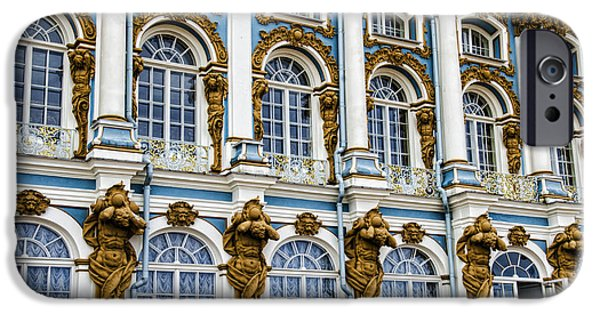 St John The Russian iPhone Cases - Catherine Palace Facade - St Petersburg  Russia iPhone Case by Jon Berghoff