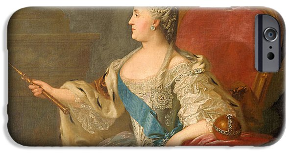 Power iPhone Cases - Catherine The Great, 1763 Oil On Canvas iPhone Case by Fedor Stepanovich Rokotov