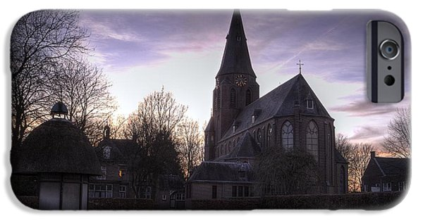 Sunset Sculptures iPhone Cases - Catholic Church in Werkhoven Netherlands iPhone Case by Mykhailo Zaletskyi