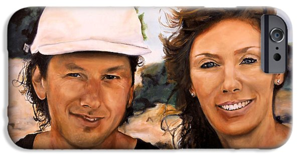 Catherine White Paintings iPhone Cases - Cathy and Corry iPhone Case by Michelle Iglesias
