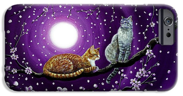 Orange Tabby iPhone Cases - Cats in Dancing Cherry Blossoms iPhone Case by Laura Iverson