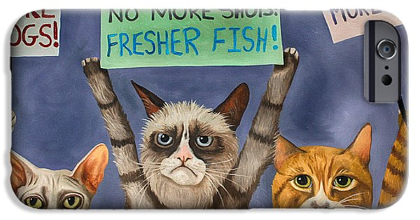 Recently Sold -  - Strange iPhone Cases - Cats On Strike edit 3 iPhone Case by Leah Saulnier The Painting Maniac