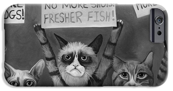 Recently Sold -  - Strange iPhone Cases - Cats On Strike edit 5 iPhone Case by Leah Saulnier The Painting Maniac