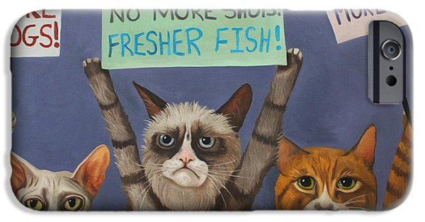 Strange iPhone Cases - Cats On Strike iPhone Case by Leah Saulnier The Painting Maniac