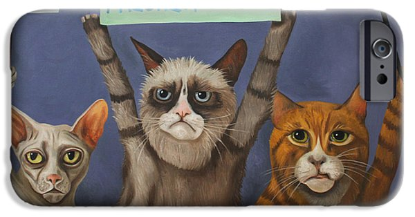 Recently Sold -  - Strange iPhone Cases - Cats On Strike iPhone Case by Leah Saulnier The Painting Maniac