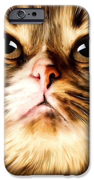 Cheetah Digital Art iPhone Cases - Cats Perception iPhone Case by Lourry Legarde