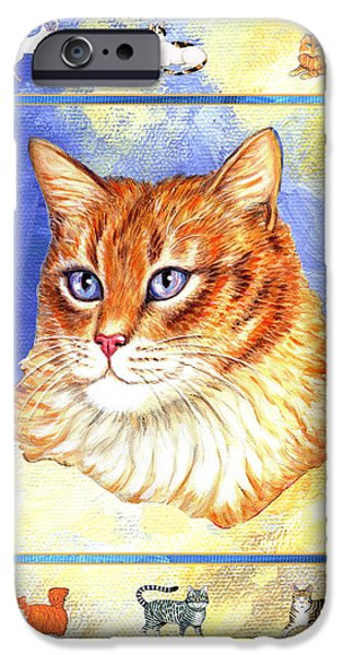 Cats Purrfection Five - Orange Tabby iPhone Case by Linda Mears