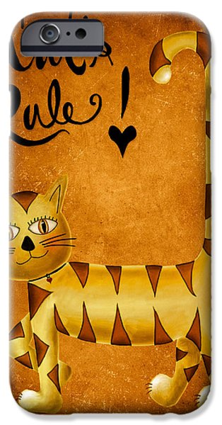 Bryant Digital iPhone Cases - Cats Rule iPhone Case by Brenda Bryant