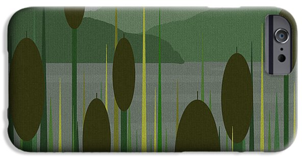 Business Digital Art iPhone Cases - Cattails in the Rain iPhone Case by Val Arie
