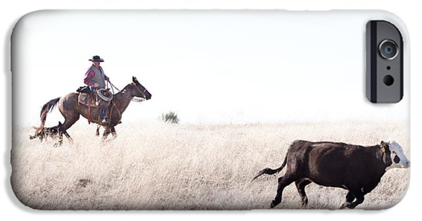 Black Angus iPhone Cases - Cattle Drive iPhone Case by Cindy Singleton