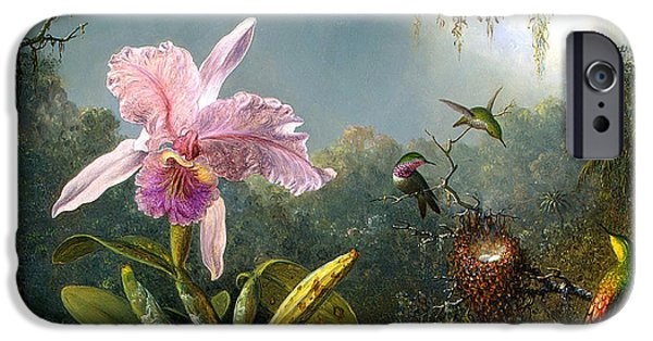 Cattleya iPhone Cases - Cattleya Orchid and Three Brazilian Hummingbirds iPhone Case by Emile Munier