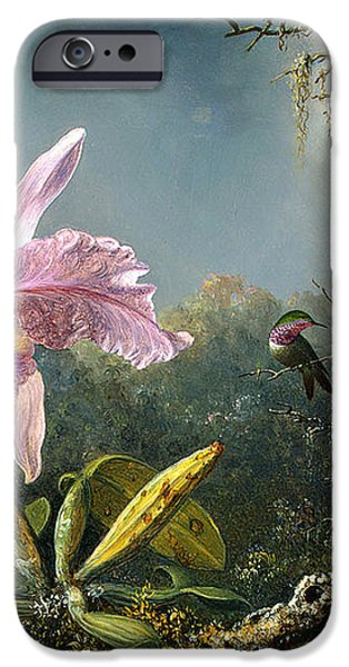 Cattleya Orchid and Three Brazilian Hummingbirds iPhone Case by Emile Munier