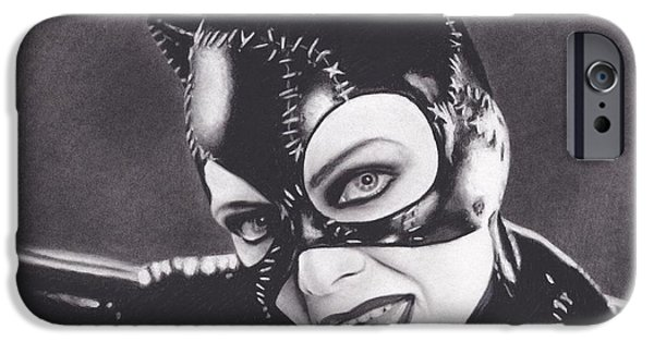 Michelle Drawings iPhone Cases - Catwoman iPhone Case by Brittni DeWeese