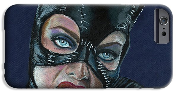 Michelle Pfeiffer iPhone Cases - Catwoman iPhone Case by Leida  Nogueira
