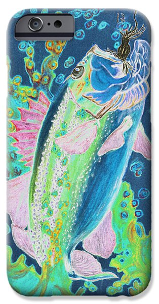 Fishing Pastels iPhone Cases - Caught 3 iPhone Case by Rebecca Holland Hudnall