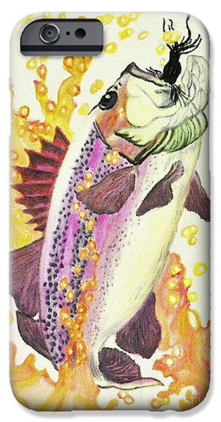 Fishing Pastels iPhone Cases - Caught 4 iPhone Case by Rebecca Holland Hudnall
