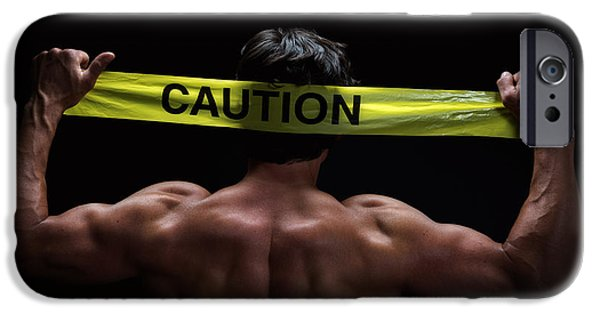 Shoulders iPhone Cases - Caution iPhone Case by Jane Rix