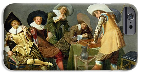 Playing Photographs iPhone Cases - Cavaliers In A Tavern Oil On Canvas iPhone Case by Dirck Hals