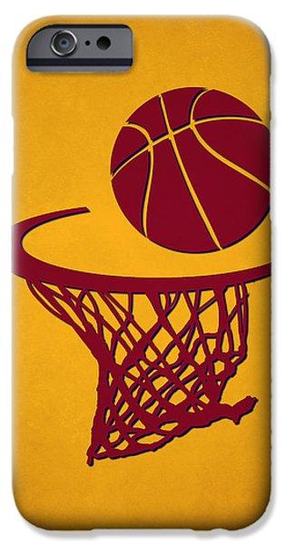 Cavalier iPhone Cases - Cavaliers Team Hoop2 iPhone Case by Joe Hamilton