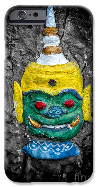 Buddhism iPhone Cases - Cave Face 1 iPhone Case by Adrian Evans