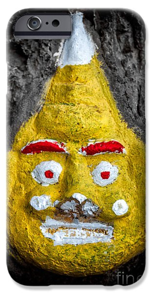 Buddhism iPhone Cases - Cave Face 2 iPhone Case by Adrian Evans