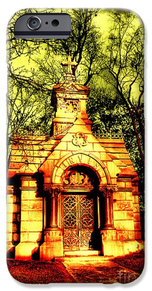 Headstones iPhone Cases - Cave Hill Haunting iPhone Case by Darren Fisher