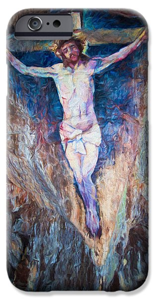Crucifixtion iPhone Cases - Cave Painting of the Crucifixion iPhone Case by Roy Pedersen
