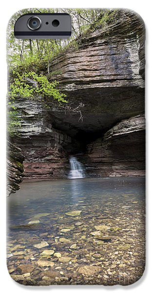Arkansas iPhone Cases - Cave Waterfall Along an Arkansas Trail iPhone Case by Brandon Alms