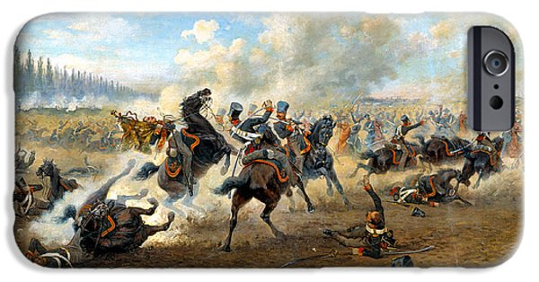 The Horse Digital Art iPhone Cases - Cavlary Battle iPhone Case by Victor Mazurovskii