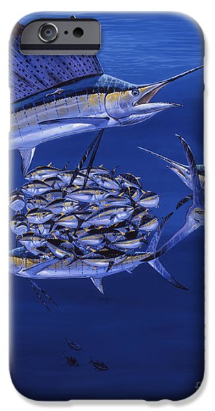 Sailfish Paintings iPhone Cases - Cayman Reef 5 OFF00127 iPhone Case by Carey Chen