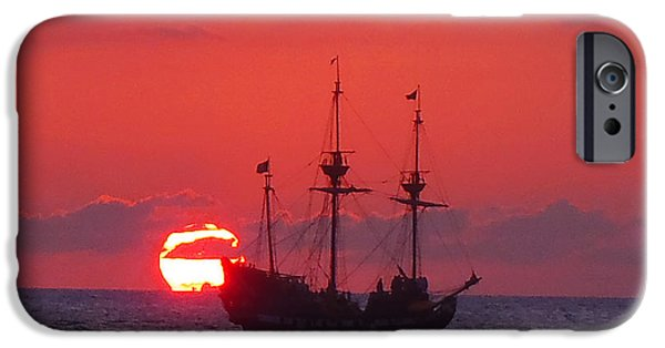 Pirate Ship iPhone Cases - Cayman sunset iPhone Case by Carey Chen
