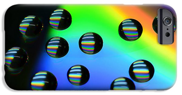 Disc iPhone Cases - CD Art Abstract - Droplets iPhone Case by Kaye Menner