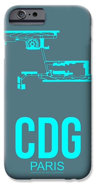 Town Mixed Media iPhone Cases - CDG Paris Airport Poster 1 iPhone Case by Naxart Studio