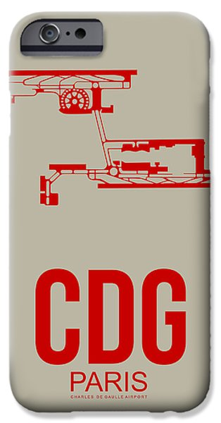 Paris iPhone Cases - CDG Paris Airport Poster 2 iPhone Case by Naxart Studio