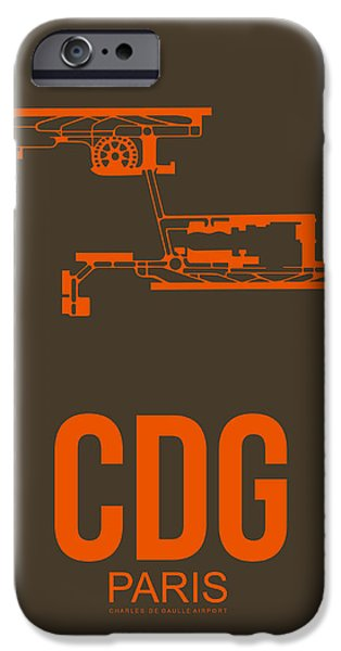 Paris iPhone Cases - CDG Paris Airport Poster 3 iPhone Case by Naxart Studio