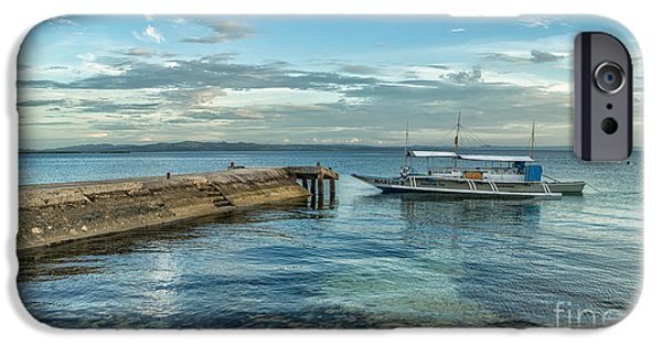 Pier Digital Art iPhone Cases - Cebu Tour Boat iPhone Case by Adrian Evans