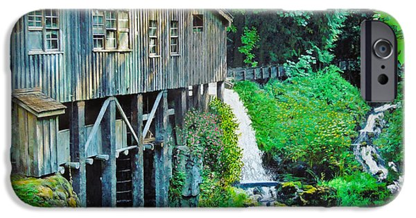 Grist Mill Mixed Media iPhone Cases - Cedar Creek Grist Mill iPhone Case by L J Oakes
